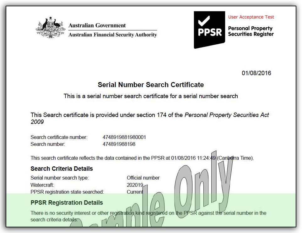 PPSR Register Search - Watercraft
