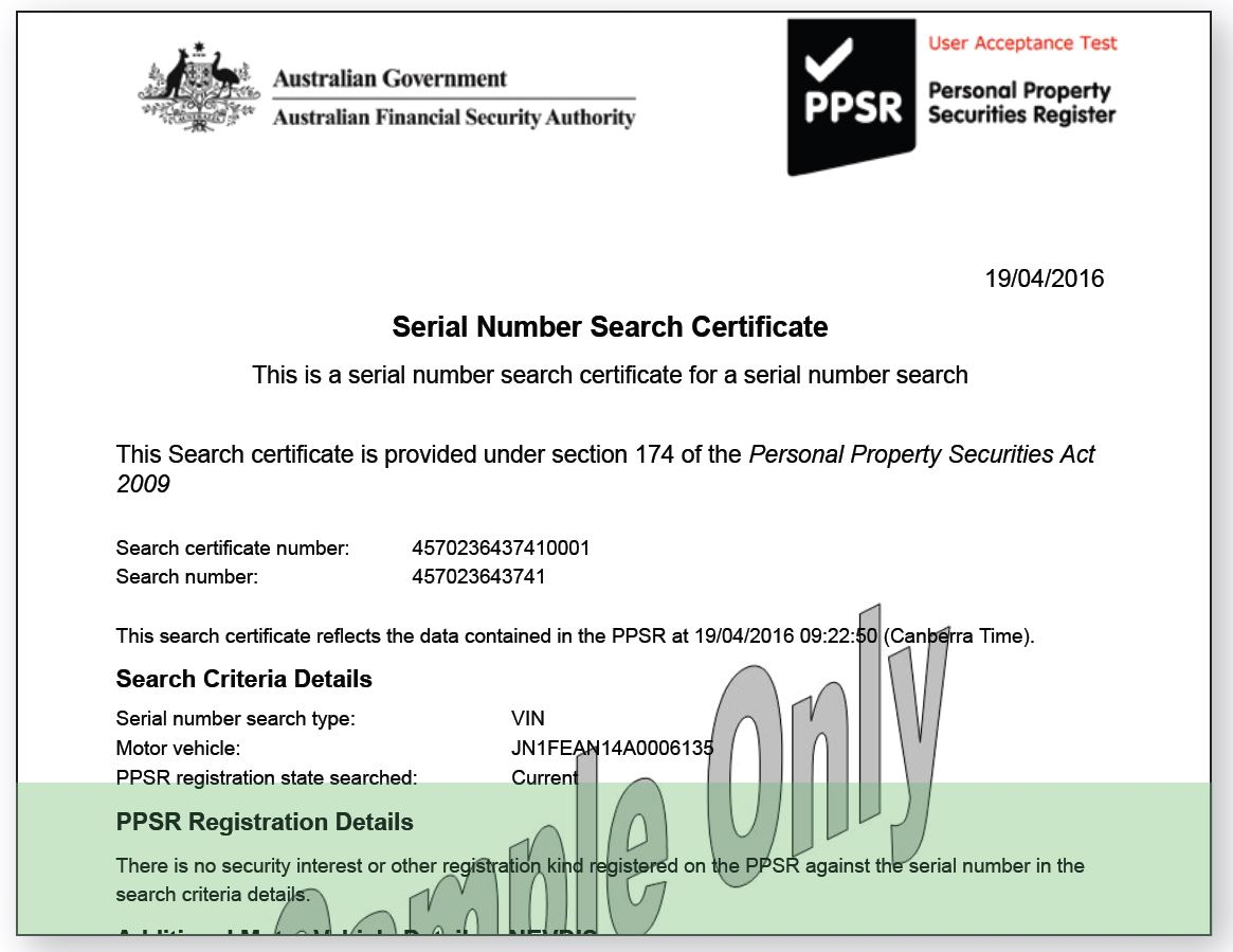 PPSR Register Search - Serial Number